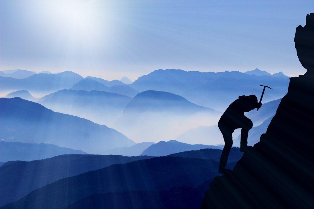 登山中の人